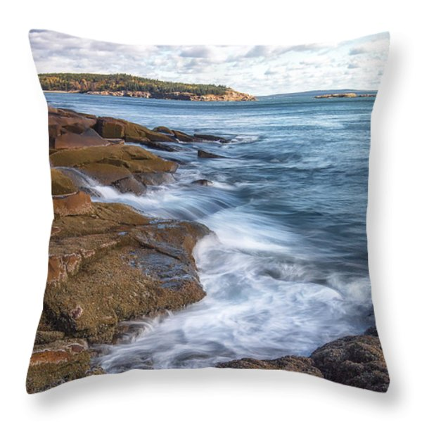 Ocean on the Rocks Throw Pillow by Jon Glaser
