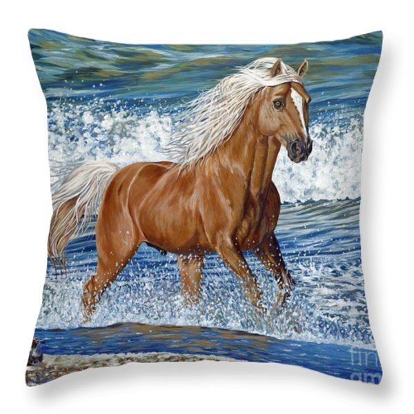 Ocean Stallion Throw Pillow by Danielle  Perry