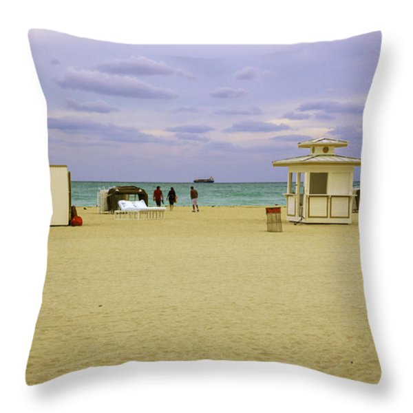 Ocean View 3 - Miami Beach - Florida Throw Pillow by Madeline Ellis