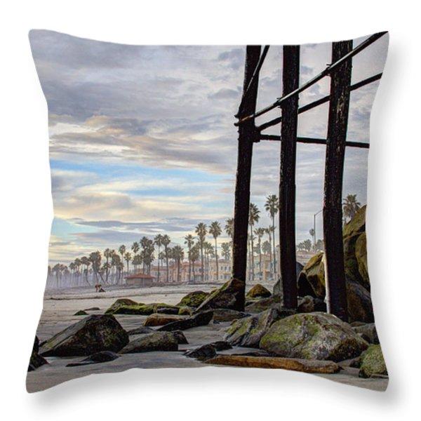 Oceanside Pier Throw Pillow by Ann Patterson