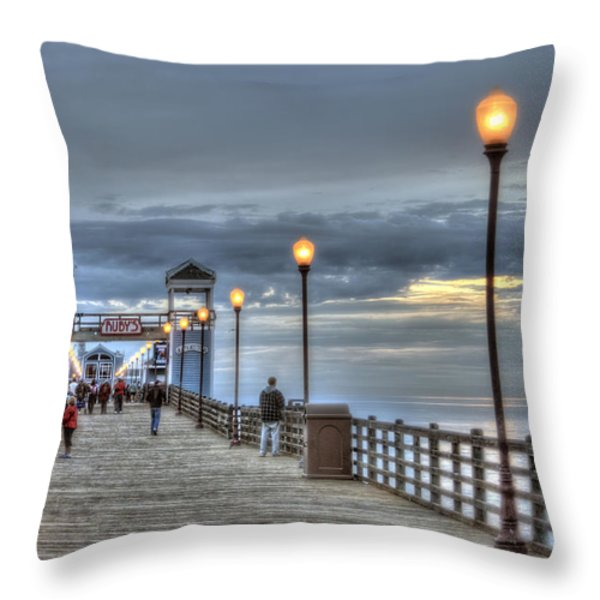 Oceanside Pier At Sunset Throw Pillow by Ann Patterson