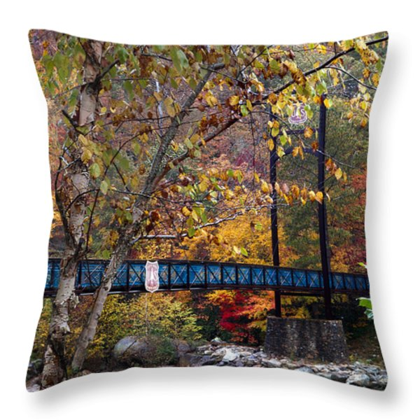 Ocoee River Bridge Throw Pillow by Debra and Dave Vanderlaan