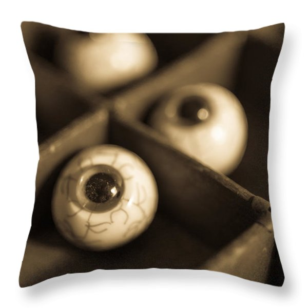 Oddities Fake Eyeballs Throw Pillow by Edward Fielding
