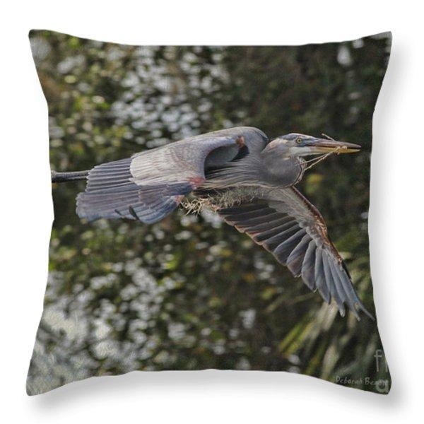 Off To The Nest 2012 Throw Pillow by Deborah Benoit