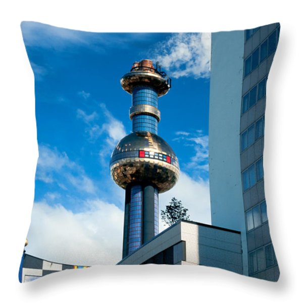 Office building and waste-to-energy plant Vienna Throw Pillow by Stephan Pietzko