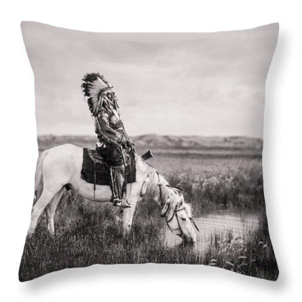 Oglala Indian Man circa 1905 Throw Pillow by Aged Pixel