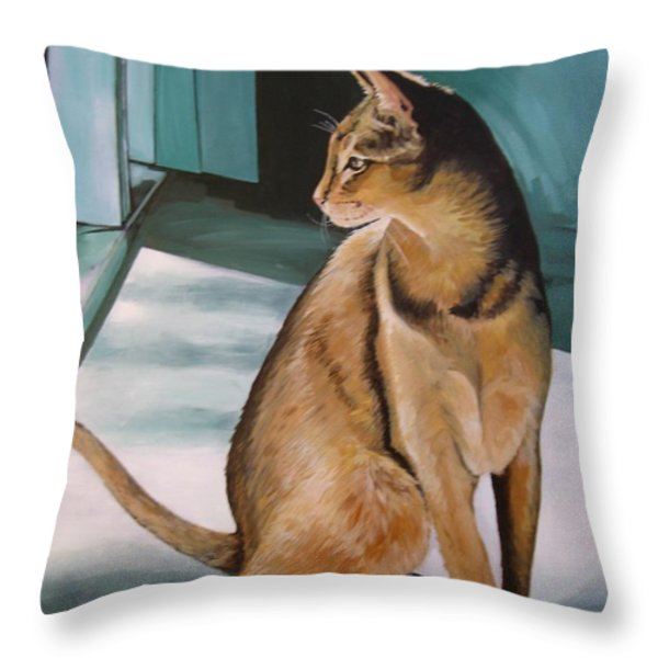 Oh Beautiful House Cat Throw Pillow by J Linder