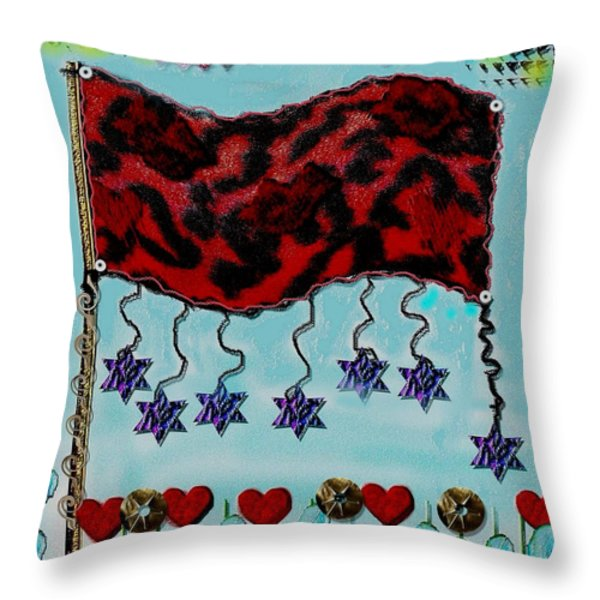 Oh Happy Days Flag Throw Pillow by Pepita Selles