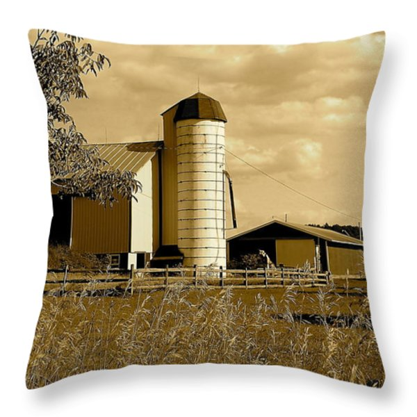 Ohio Farm In Sepia Throw Pillow by Frozen in Time Fine Art Photography