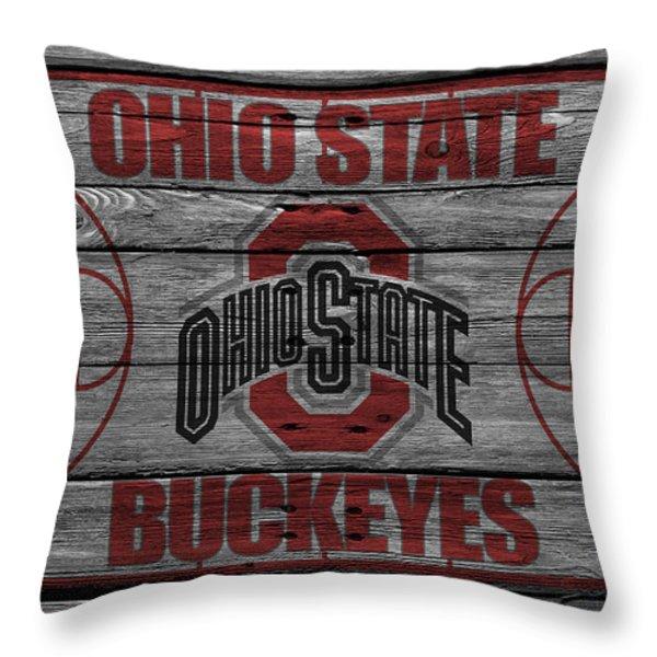 OHIO STATE BUCKEYES Throw Pillow by Joe Hamilton