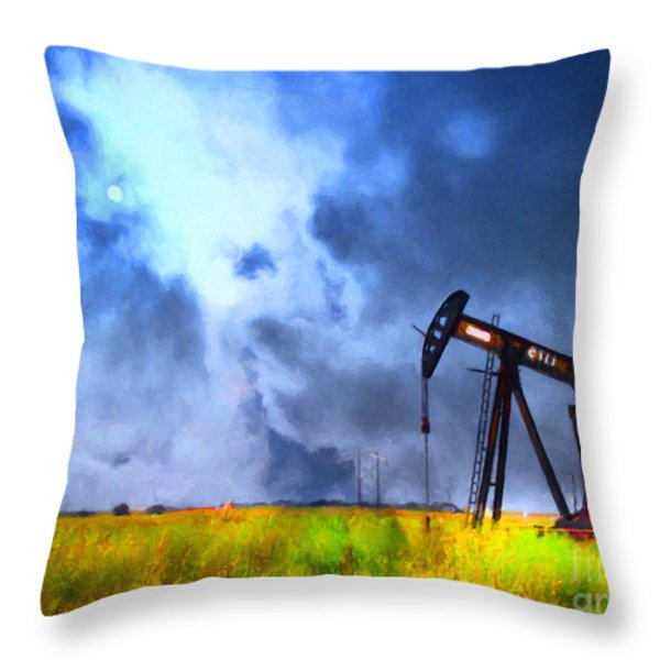 Oil Pump Field Throw Pillow by Wingsdomain Art and Photography