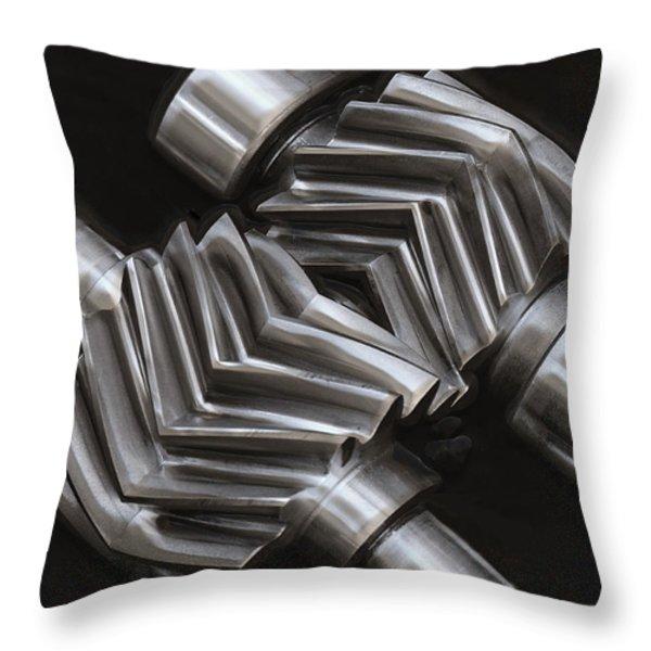 OIL PUMP GEARS Throw Pillow by Daniel Hagerman
