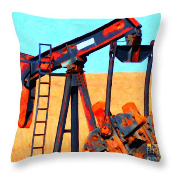 Oil Pump - Painterly Throw Pillow by Wingsdomain Art and Photography