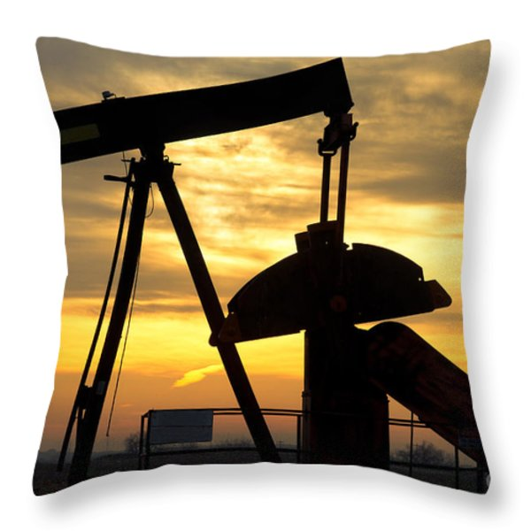 Oil Well Pump Sunrise Throw Pillow by James BO  Insogna