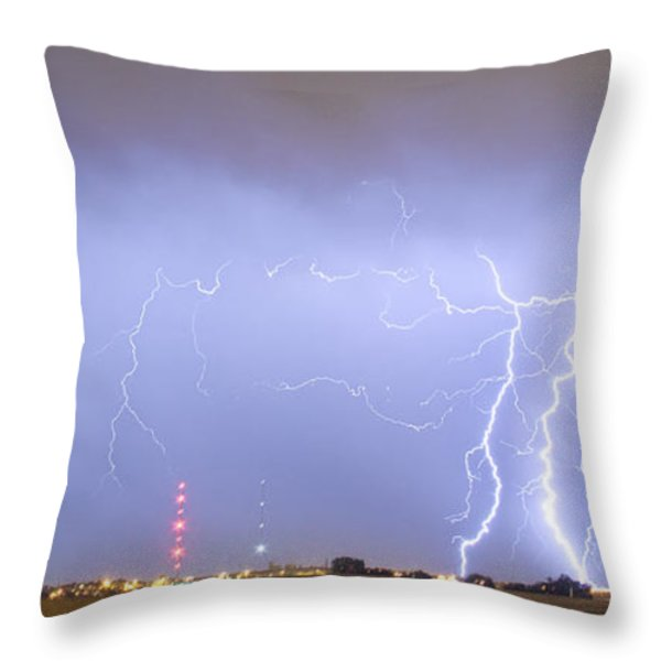 Oil Well Pumpjack Thunderstorm Panorama Throw Pillow by James BO  Insogna