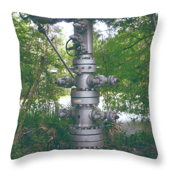 Oilfield Christmas Tree Throw Pillow by Joseph Baril