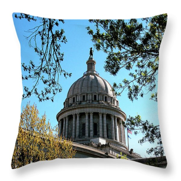 Oklahoma City Capitol In The Spring Throw Pillow by Toni Hopper