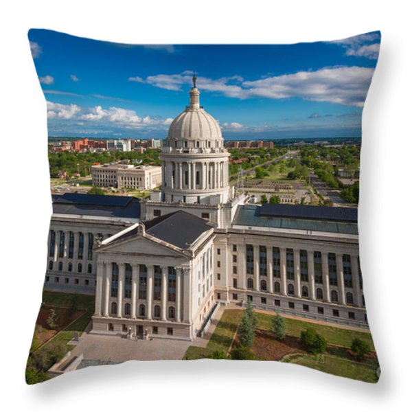 Oklahoma City State Capitol Building C Throw Pillow by Cooper Ross