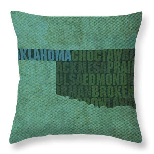 Oklahoma Word Art State Map On Canvas Throw Pillow by Design Turnpike