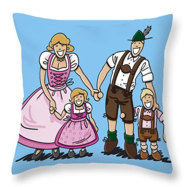 Oktoberfest Family Dirndl And Lederhosen Throw Pillow by Frank Ramspott