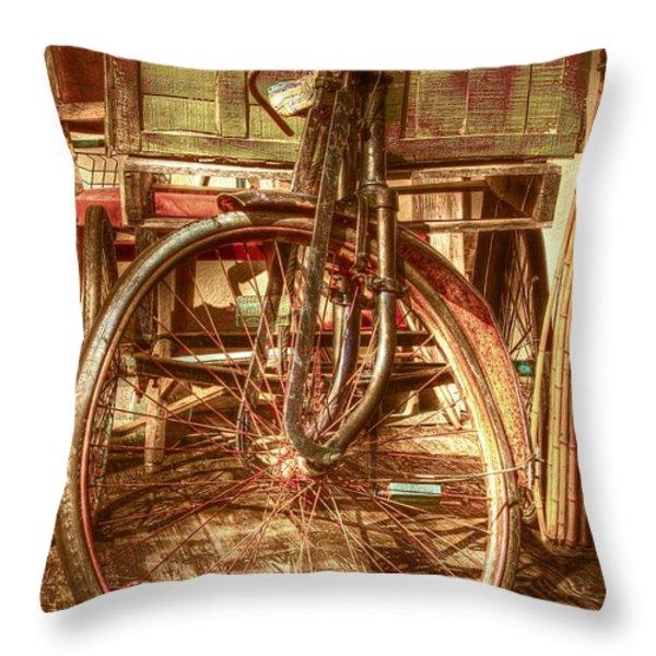 Ol' Rusty Antique Throw Pillow by Debra and Dave Vanderlaan