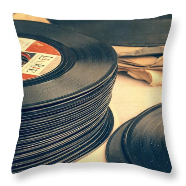 Old 45s Throw Pillow by Edward Fielding