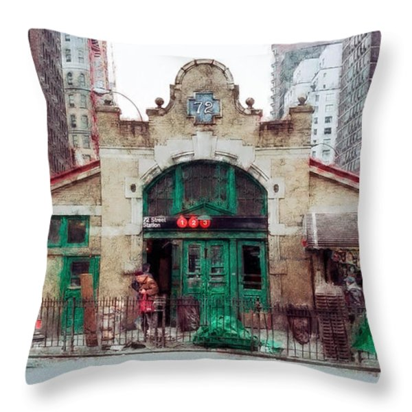 Old 72nd Street Station - New York City Throw Pillow by Daniel Hagerman