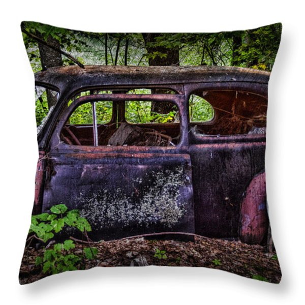 Old Abandoned Car In The Woods Throw Pillow by Paul Freidlund