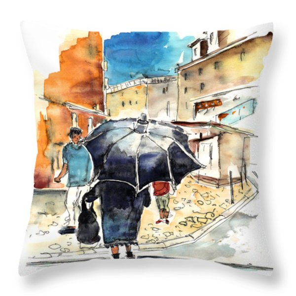 Old And Lonely In Portugal 03 Throw Pillow by Miki De Goodaboom