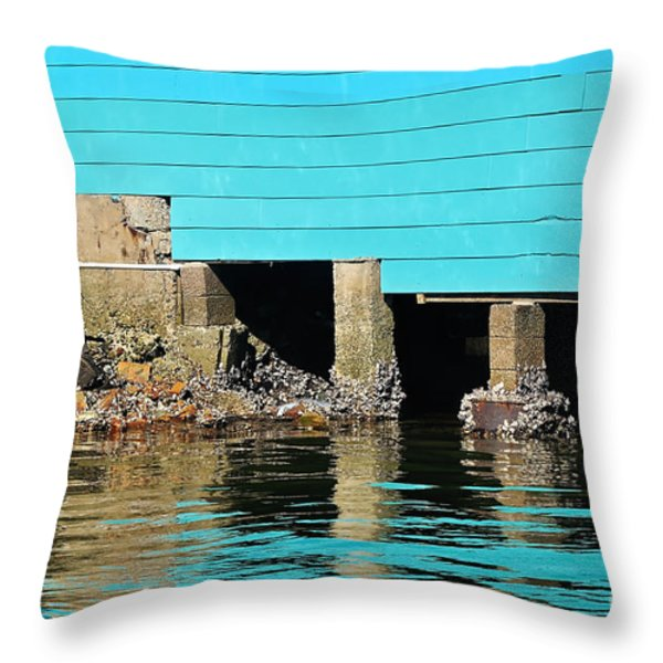 Old Aqua Boat Shed with Aqua Reflections Throw Pillow by Kaye Menner