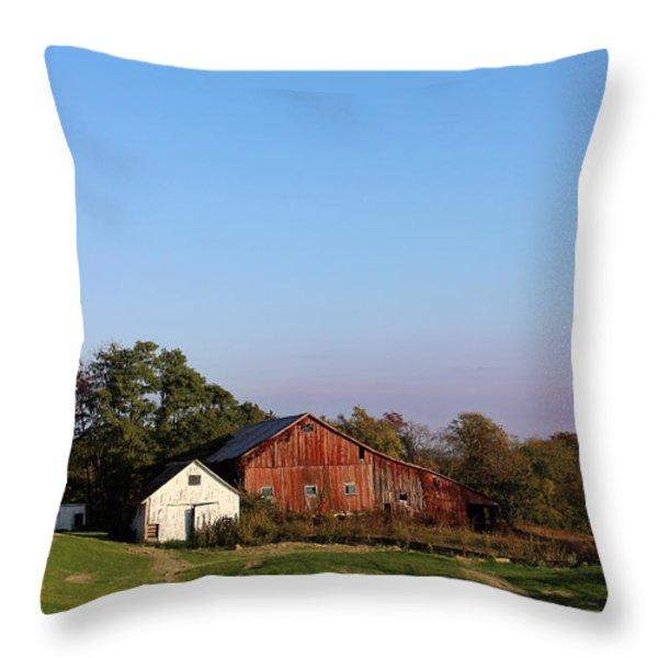 Old Barn At Sunset Throw Pillow by Karen Adams