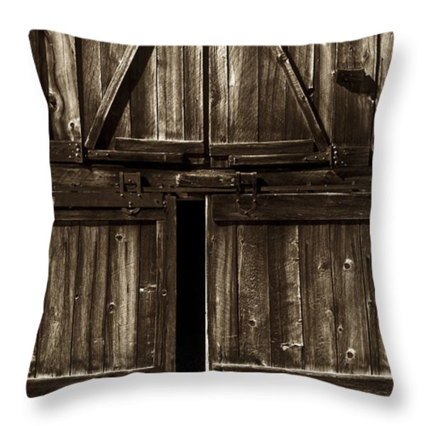 Old Barn Door - toned Throw Pillow by Paul W Faust -  Impressions of Light