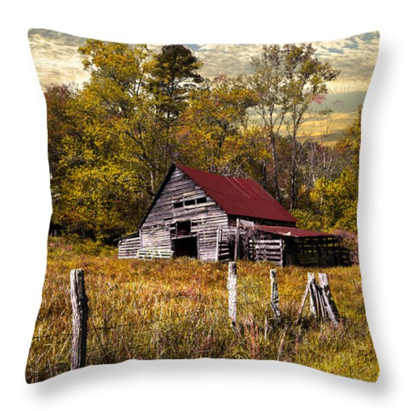 Old Barn In Autumn Throw Pillow by Debra and Dave Vanderlaan