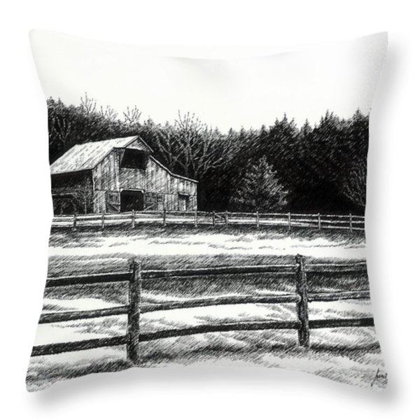 Old Barn In Franklin Tennessee Throw Pillow by Janet King