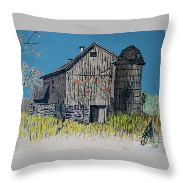 Old Barn Throw Pillow by Linda Simon