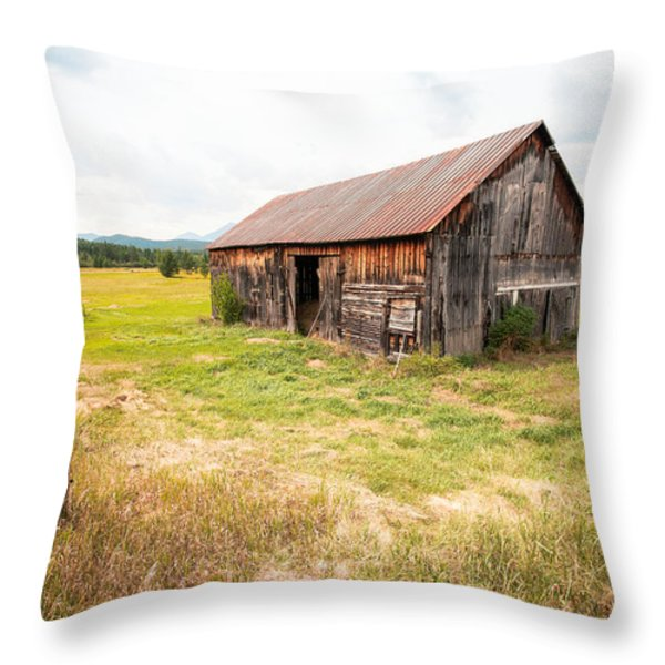 Old barn on Highway 86 - Rustic Barn Throw Pillow by Gary Heller