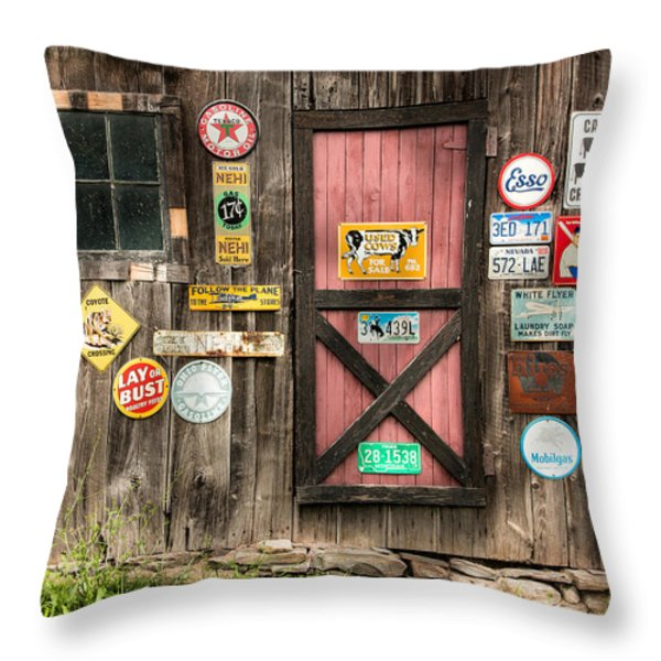 Old Barn Signs - Door And Window - Shadow Play Throw Pillow by Gary Heller