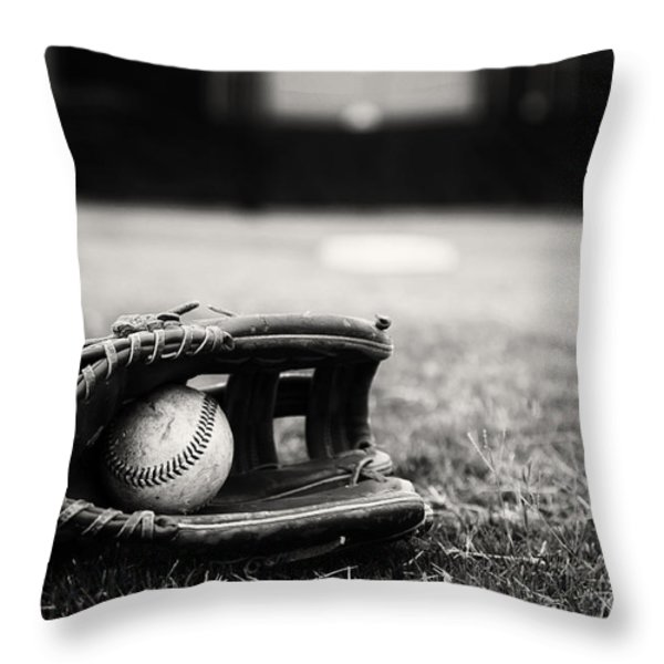 Old Baseball And Glove On Field Throw Pillow by Danny Hooks