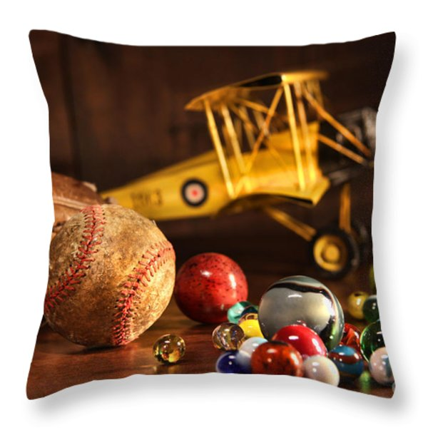 Old baseball and glove with antique toys Throw Pillow by Sandra Cunningham