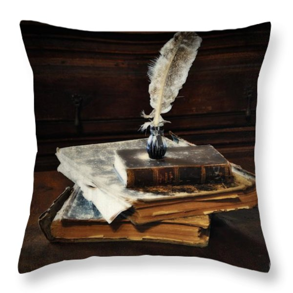 Old Books and a Quill Throw Pillow by Mary Machare