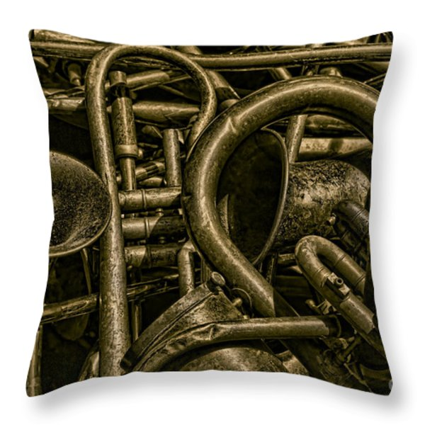 Old Brass Musical Instruments Throw Pillow by David Gordon