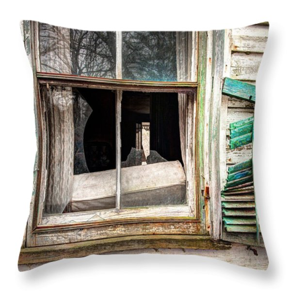 Old Broken Window And Shutter Of An Abandoned House Throw Pillow by Gary Heller
