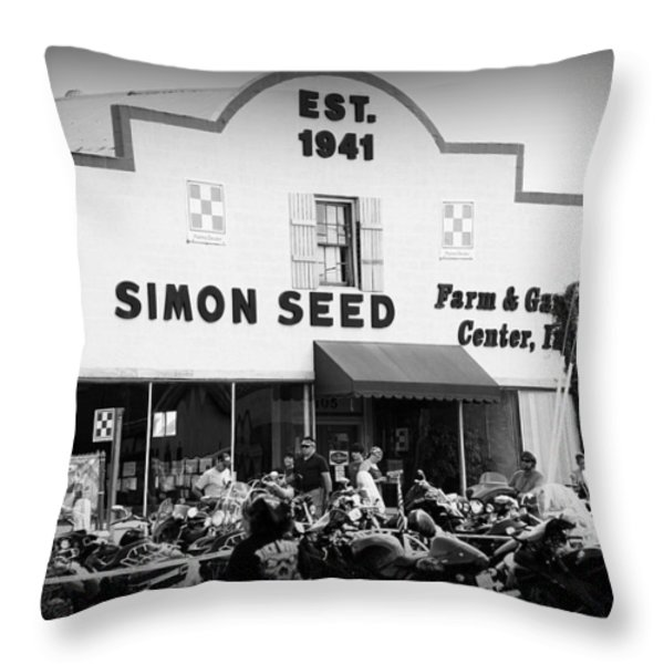 Old Building New Bikers Throw Pillow by Laurie Perry