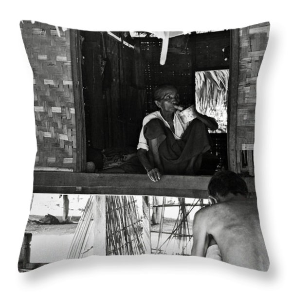 Old burmese smoker woman Throw Pillow by RicardMN Photography