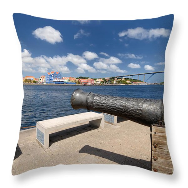 Old Cannon And Queen Juliana Bridge Curacao Throw Pillow by Amy Cicconi