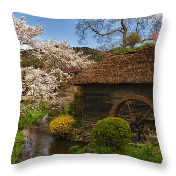 Old Cherry Blossom Water Mill Throw Pillow by Sebastian Musial