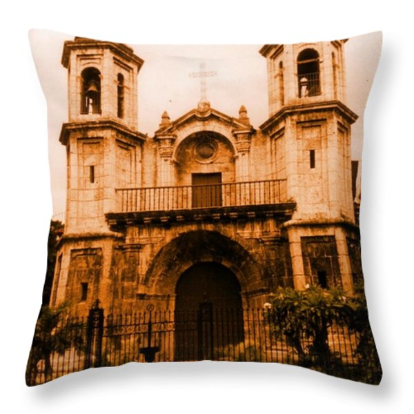 Old Colonial Church In Varadero Cuba Throw Pillow by John Malone