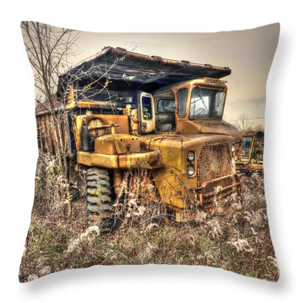Old Construction Truck Throw Pillow by Dan Friend