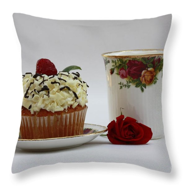 Old Country Rose And Raspberry Cupcake Delight Throw Pillow by Inspired Nature Photography Fine Art Photography