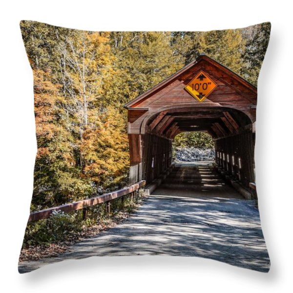 Old Covered Bridge Vermont Throw Pillow by Edward Fielding